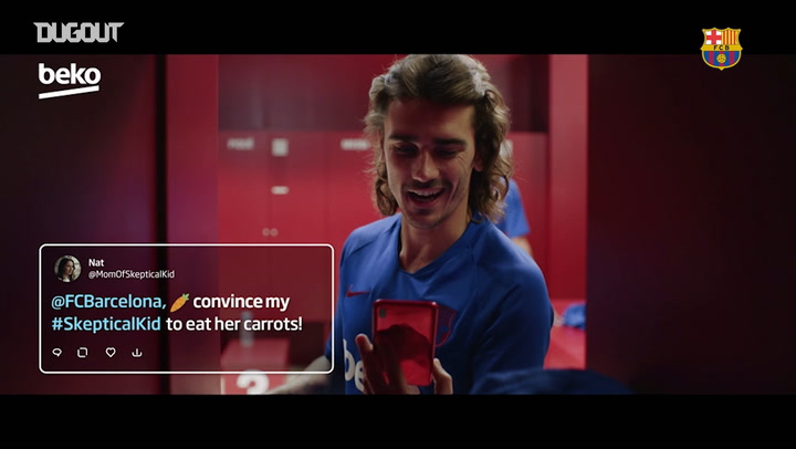 Skeptical kid eats healthy thanks to Barça players