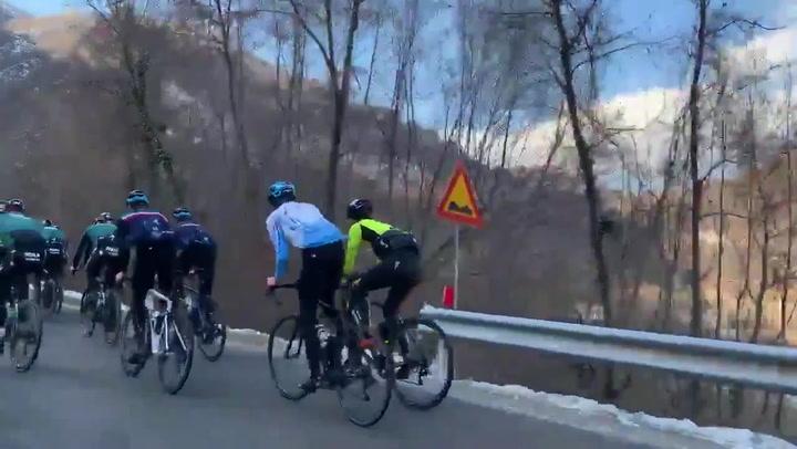 El Team Bora entrenó en el Lago de Garda antes del atropello múltiple