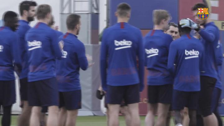 Último entrenamiento del Barça antes de recibir al Sevilla