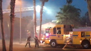 Fire in Arts District in downtown Las Vegas
