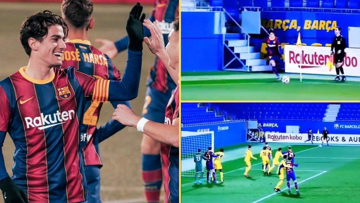Álex Collado consigue un gol olímpico contra el Badalona