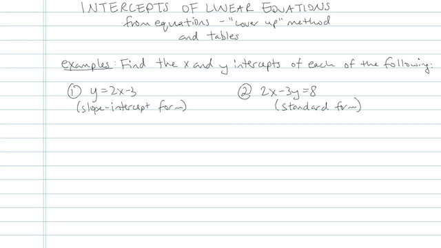 Intercepts of Linear Equations - Problem 5