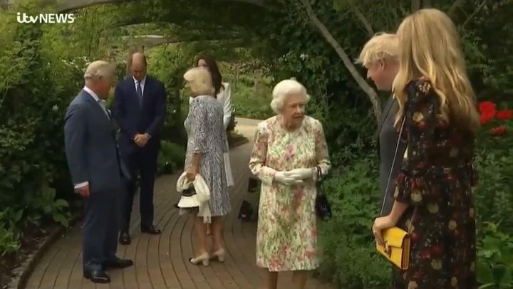 The Queen meets Boris Johnson at the G7