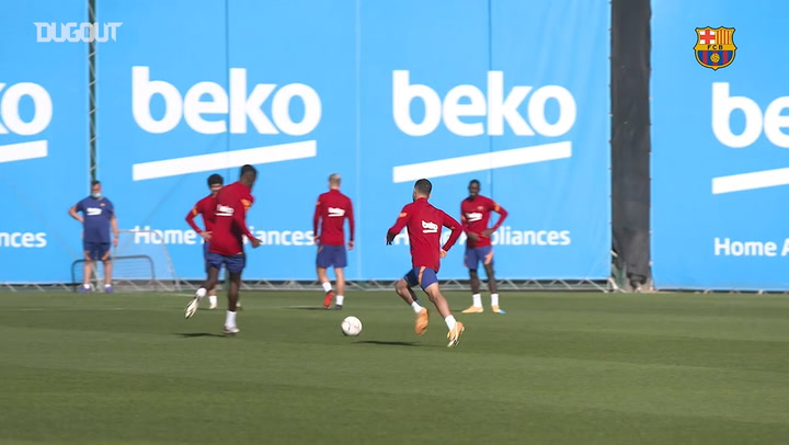 Barça's double training session