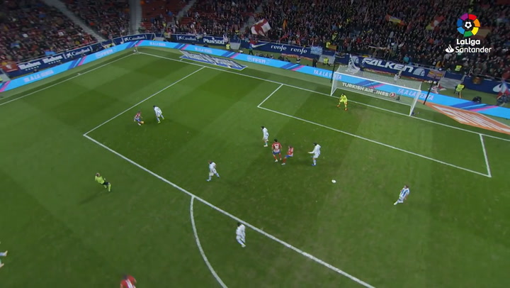LaLiga: Atlético-Real Sociedad. El gol de Filipe Luis, visto desde una cámara aérea