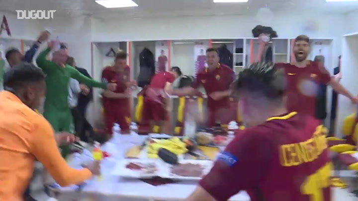 Dressing Room Celebrations After AS Roma-Barça