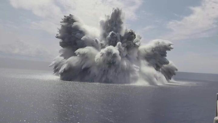 US Navy tests warship with megablast in Atlantic