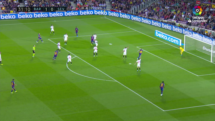 Gol de Arturo Vidal (2-0) en el Barcelona 4-0 Sevilla