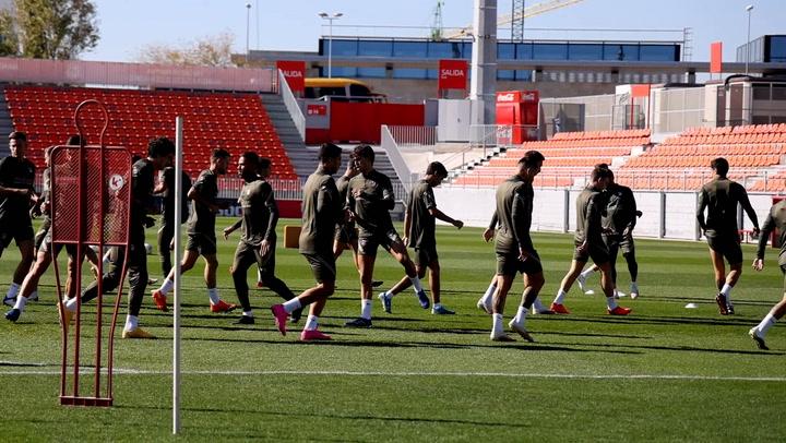 Último entrenamiento del Atlético antes de jugar contra Osasuna