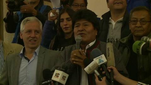 Morales celebra en Bolivia, sin mencionar segunda vuelta