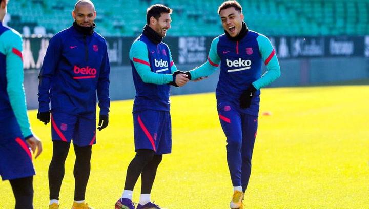 Entrenamiento del Barça previo al partido contra el Elche