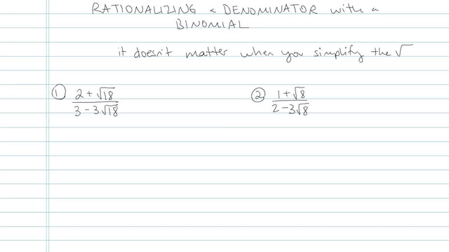 Rationalizing a Denominator with a Binomial - Problem 4