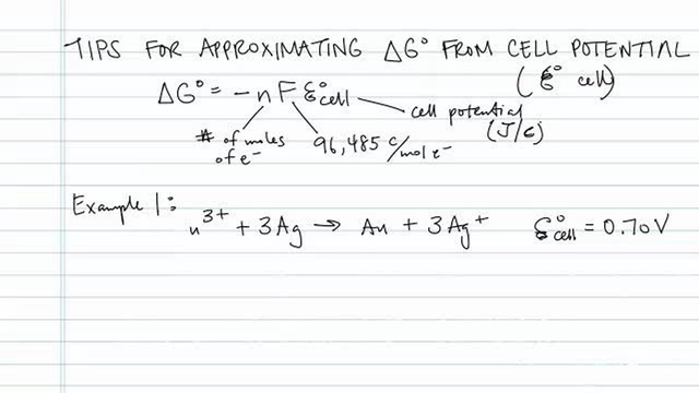 Tips for Approximating Delta G from Cell Potential