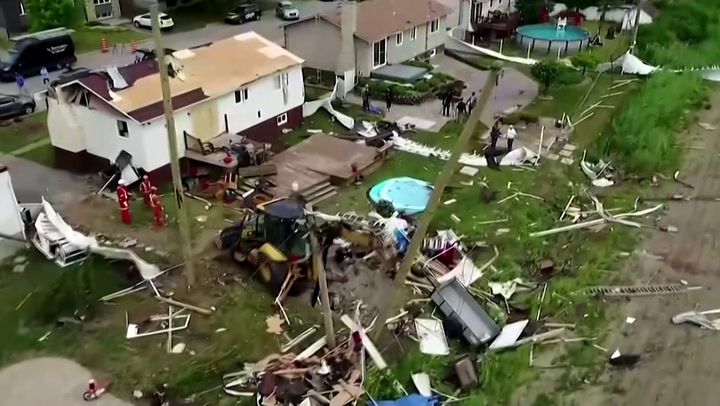 Trail of destruction after tornado hits Montreal suburb