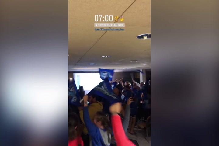 Cervera celebra la victoria de Àlex Márquez