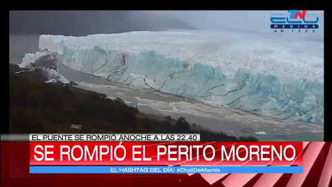 El puente de hielo del Perito Moreno se rompió durante la noche del domingo