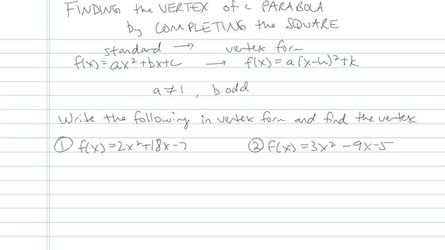 Finding the Vertex of a Parabola by Completing the Square - Problem 6