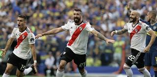 Lucas Pratto anota el empate 1 - 1 de River Plate ante Boca Juniors