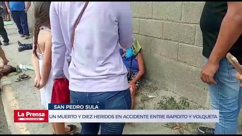 Un muerto y diez heridos en accidente entre rapidito y volqueta en San Pedro Sula