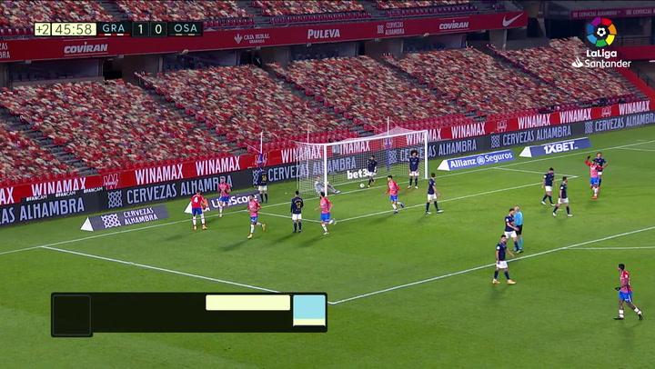 Gol de Sergio Herrera, p.p. (2-0) en el Granada 2-0 Osasuna