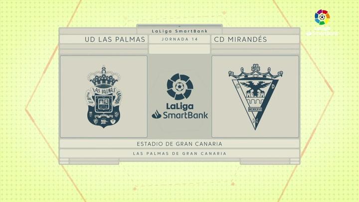 LaLiga SmartBank (J14): Resumen y goles del Las Palmas 0-2 Mirandés