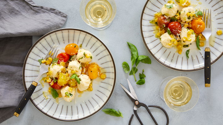 A Perfect Match: Gnudi with Tomato Confit & Corn with Petit Manseng