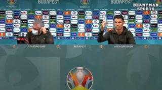 ¡Solo agua! El gesto de Cristiano Ronaldo con unas gaseosas en rueda de prensa