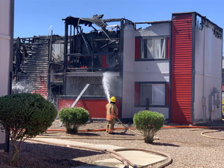 Las Vegas Fire and Rescue Departments Respond To Tropicana Apartment Fire