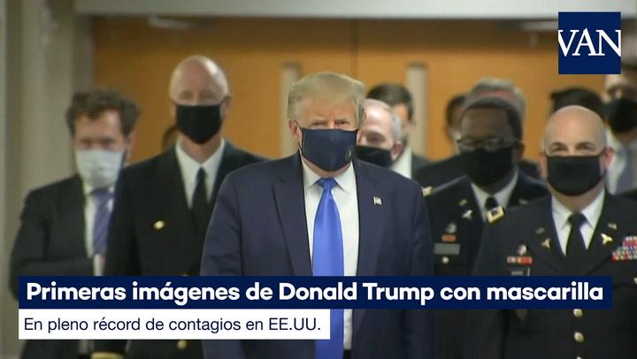 Primeras imágenes de Donald Trump con mascarilla en pleno récord de contagios en EE.UU.