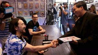 DJ Steve Aoki visits Las Vegas comic book store