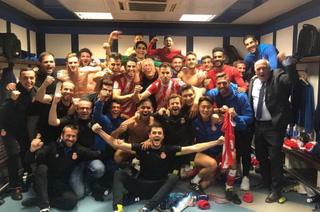 Así celebró el Girona el triunfo sobre Real Madrid en el Santiago Bernabéu