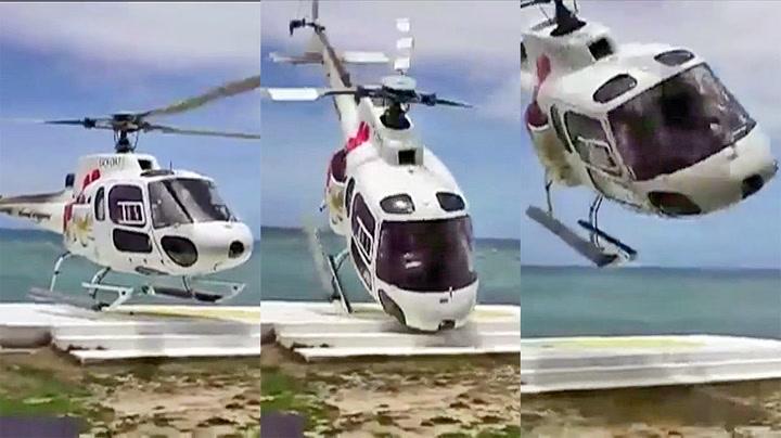 Skal bare lande pent - så tar vinden tak i helikopteret