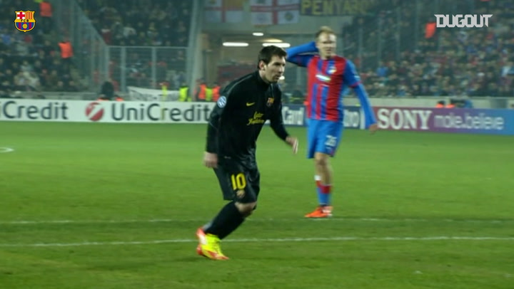 Lionel Messi's hat-trick against Viktoria Plzen