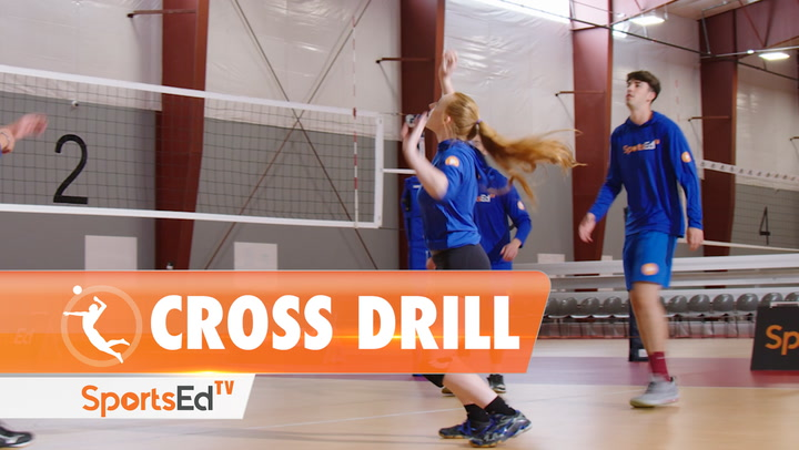 VOLLEYBALL CROSS DRILL (4 PLAYERS)
