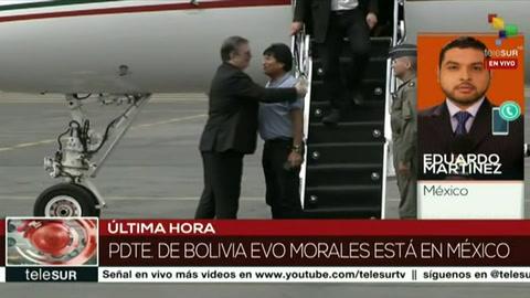 Evo Morales arriba a México como asilado político