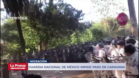 Guardia Nacional frena nuevo intento de la caravana de migrantes de ingresar a México