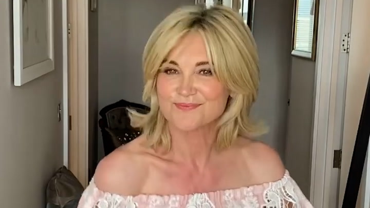 Anthea Turner showcases her off-the-shoulder style
