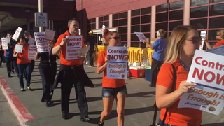 Allegiant Air flight attendants picket at McCarran