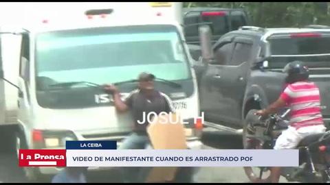 Video de manifestante cuando es arrastrado por un camión