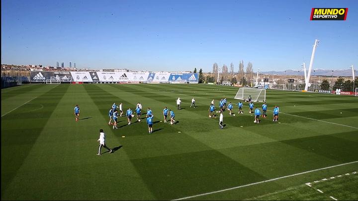 Entrenamiento del Real Madrid previo al partido de Liga ante el Celta
