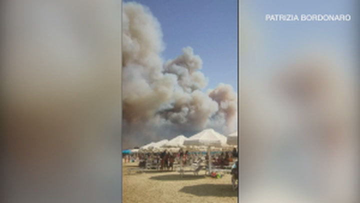 Tourists flee Italian beach as wildfire rages nearby