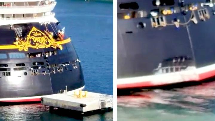 Her dundrer cruiseskipet rett inn i piren