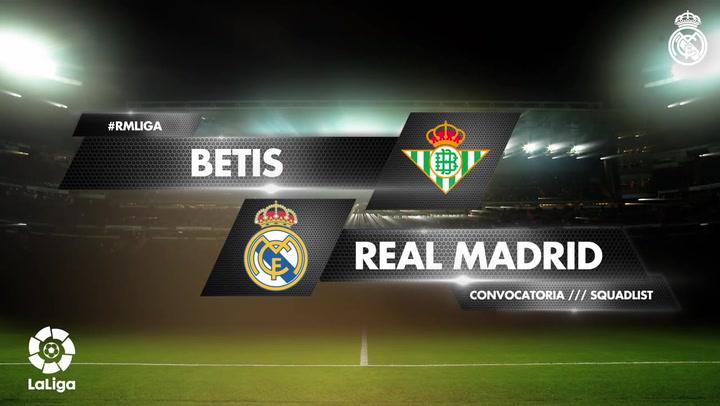 Los 19 convocados del Real Madrid para el encuentro ante el Betis