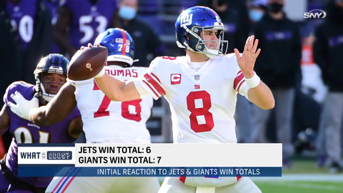 What are the over/unders for Jets and Giants wins in 2021?