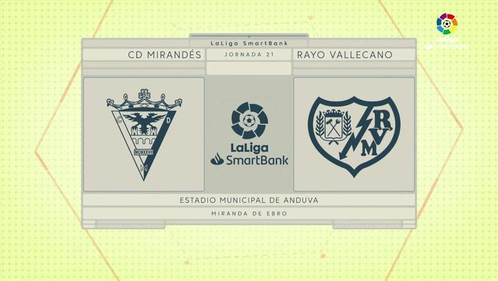 LaLiga Smartbank (Jornada 21): Mirandés 0-2 Rayo Vallecano