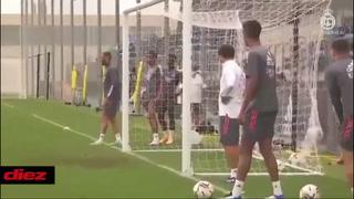 Sergio Ramos pone de rodillas a Thibaut Courtois con un golazo de vaselina en entreno del Real Madrid