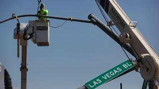 Toppled Crane Truck Snarls Traffic on Las Vegas Boulevard