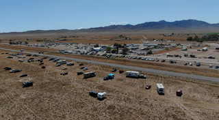 Drone's-eye view of Alienstock near Area 51- VIDEO