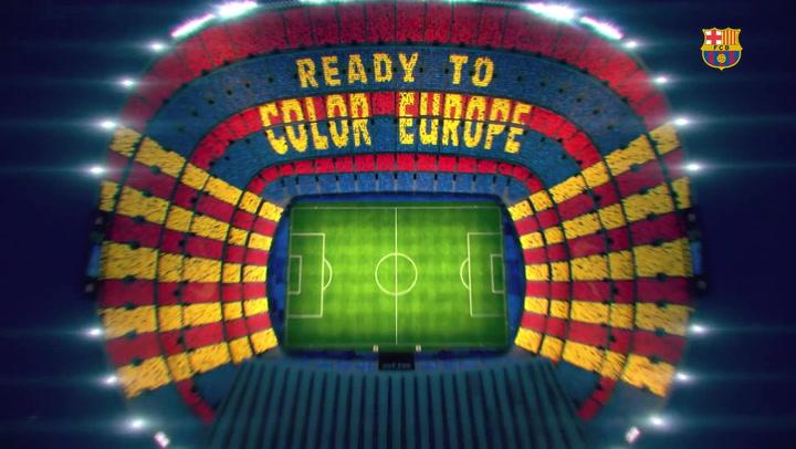 Espectacular mosaico del Barça para recibir al Liverpool