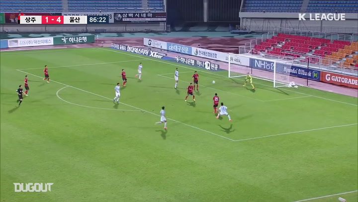 Lee Dong-kyeong cuts inside and finishes top corner against Sangju